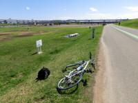 荒川サイクリングロード 強風のため自転車は寝かしてある
