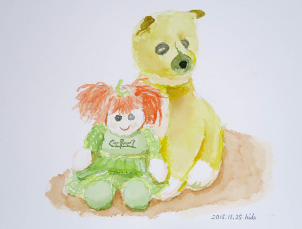 少女と犬の人形 水彩 2015.11.25