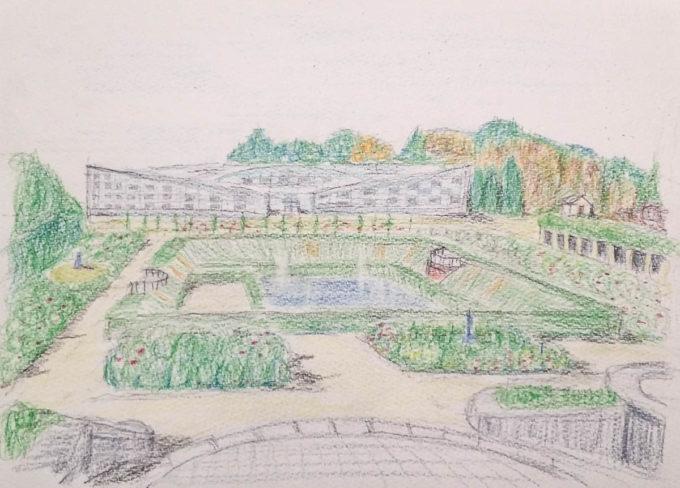 神代植物公園(水彩色鉛筆)